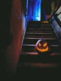 Halloween Pumpkin Sitting on Staircase Photographic Print by David Woods