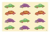 Cars, in Green, Purple and Orange Giclee Print by Steve Collier