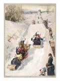 Tobogganing in countryside Giclee Print by  Toboggans