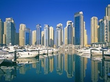 Skyline and boats on Dubai Marina Photographic Print by Murat Taner