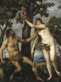Adam og eva Fotografisk tryk af Titian (Tiziano Vecelli)