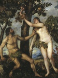 Adam and Eve Photographic Print by  Titian (Tiziano Vecelli)