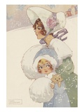 Illustration of woman and girl wearing muffs Giclee Print