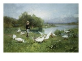 Tending the Geese Giclee Print by Luigi Chialiva