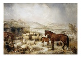 The Farmyard in Winter Giclee Print by Edwin Frederick Holt