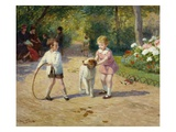 Playing with a Hoop Giclee Print by Victor Gabriel Gilbert