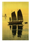 Mist, from a Set of Six Prints of Sailing Boats Reproduction procédé giclée par Hiroshi Yoshida