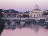 Tiber River and St. Peter&#39;s Basilica Photographic Print by John &amp; Lisa Merrill