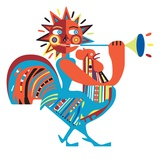 Sun riding chicken and playing horn Giclee Print by Frederico Jordán