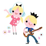 Rock and roll kids Giclee Print by Kirsten Ulve