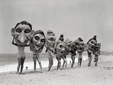 Women Holding Giant Masks Fotodruck von  Bettmann