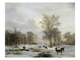 A Winter Landscape Premium Giclee Print by Jacobus-Theodorus Abels