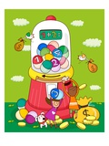 Two girls near a gumball machine Giclee Print