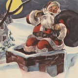 Santa Claus going down chimney with sack of toys Photographic Print