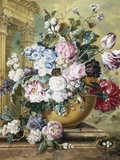 A Still Life of Roses, Delphiniums and Tulips Fotografie-Druck von Jacobus Linthorst