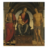 Madonna and Child with Saint John the Baptist and Saint Sebastian Giclee Print by  Perugino