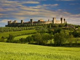 Walled Hillside Town of Monteriggioni, Italy in Spring Green Photographic Print by Terry Eggers