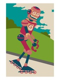 Robot on roller blades Giclee Print by Sabet Brands