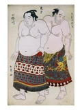 Full-Length Portraits of Wrestlers from the Eastern Group, Uzugafuchi on the Right and Onogawa on t Giclee Print by  Shunsho