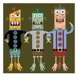 Three monsters arm and arm Giclee Print by Matthew Laznicka