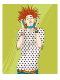 Young man listening music Giclee Print