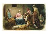 A Joyful Christmas with Nativity Scene Giclee Print