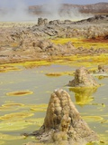 Sulfuric acid pond and fumarole at Dallol maar in Ethiopia Photographic Print by Christophe Boisvieux