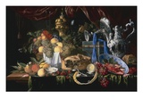 A Still Life with a Pie Pewter Plate, a Lemon, a Silver Spoon, Crayfish and Shrimp Giclee Print by Jan Davidsz De Heem