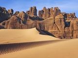 Eroded landscape in Tassili du Hoggar, Sahara, Algeria Fotografisk tryk af Frank Krahmer