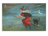 Hallowe'en with Flying Witch Giclee Print