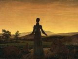 A Woman at Sunset or Sunrise Valokuvavedos tekijänä Caspar David Friedrich