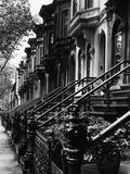 Trappen naar 19de eeuwse rijtjeshuizen in Brooklyn Fotoprint van Karen Tweedy-Holmes