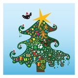 Decorated Christmas tree Giclee Print by Emma Barratt