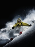 Night skiier on Les Arcs  French Alps Fotoprint van Stephane Godin