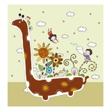 Side view of children on dinosaur Giclee Print