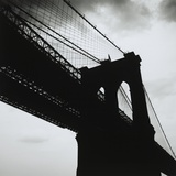Silhouette Of The Brooklyn Bridge/New York Photographic Print by Alex Fradkin