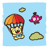 Teddy bear using a parachute Giclee Print by Sabet Brands