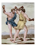 Color Print from Engraving Showing Gladiators Boxing by Jacques Grasset de Saint-Sauveur and L.F. L Giclee Print by  Stapleton Collection