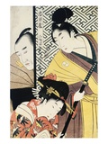 Act II of Chushingura, The Young Samurai Rikiya, with Kononami, Honzo Partly Hidden Behind the Door Giclee Print by Utamaro