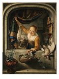 A Poultry Seller Holding a Basket of Fruit at a Window, a Music Lesson in an Interior Beyond, after Reproduction procédé giclée par Jacob Cats