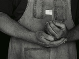 Man Holding Small American Flag Photographic Print by Bob Rowan