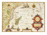 Map of Eastern Africa by Arnold Florent van Langren after Jan Huygen van Linschoten Giclée-tryk af  Stapleton Collection