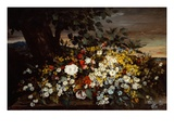 Flowers on a Bank Giclee Print by Gustave Courbet