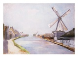A Riverside Village with Windmills Giclee Print by Lesser Ury
