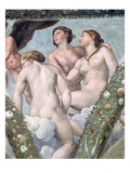 Detail of the Three Graces from the Loggia of Cupid and Psyche Giclee Print by  Raphael