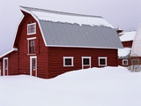 Red Barn in the Snow Photographic Print by James Randklev