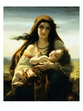 Mother and Child Giclee Print by Hugues Merle
