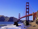 Beach and Golden Gate Bridge Fotografie-Druck von William Manning