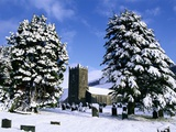Snow Covered Church and Cemetery Photographic Print by Ashley Cooper