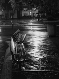 Park Benches on Rainy Night Photographic Print by Brian Cencula